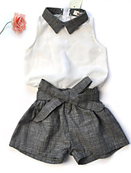 Girl's Cotton Fashion And Lovely Chiffon Doll Neck Sleeveless  Tops Cotton And Linen Girdle Shorts Two-piece Bow
