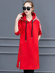 2016 Korean Women plus thick velvet stitching was thin Hitz striped hooded dress slit
