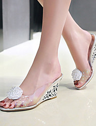 cheap -Women's Shoes PVC Spring / Summer Sandals Wedge Heel Peep Toe Flower for Party & Evening / Dress Gold / Silver
