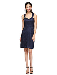 cheap -Sheath / Column Straps Knee Length Lace Bridesmaid Dress with Lace by LAN TING BRIDE®