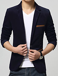 cheap -Men's Daily Work Simple Casual Spring Fall Blazer,Color Block Notch Lapel Long Sleeve Regular Cotton Acrylic