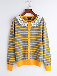 Women's Casual/Daily Simple Short Cardigan,Striped Print Shirt Collar Long Sleeves Cotton Fall Medium Micro-elastic