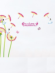 cheap -Cartoon Dandelion Flower Umbrella Wall Stickers Fairy Wall Decals May My LOVE Riding Dandelion Fly Quote Removable Kids Sticker