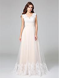 Linea-A A V Strascico di corte Di pizzo Tulle Vestito da sposa con Con applique di LAN TING BRIDE®