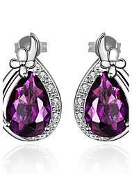 Boucles d'oreille goujon Améthyste Zircon cubique Cristal Zircon Cuivre Plaqué or Bijoux de Luxe Goutte Violet BijouxQuotidien