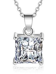 Collane con ciondolo Zirconi Circolare Zircone cubico Placcato in platino Circolare Argento Gioielli PerMatrimonio Feste Occasioni