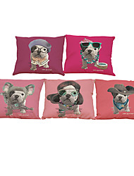 Set of 5  French Bulldog  Linen Pillow Case Bedroom Euro Pillow Covers 18x18 inches  Cushion cover