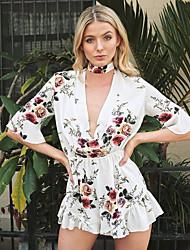 cheap -LooseBeach Holiday Sexy Floral Ruffle Deep V ½ Length Sleeve High Rise Cotton Micro-elastic Summer
