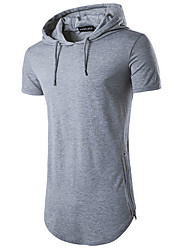 Men's Daily Sports Casual Summer T-shirt,Solid Hooded Short Sleeves Cotton