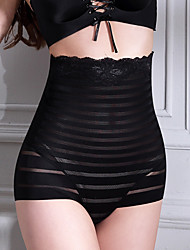 Women's Sexy Maternity Postpartum Slimming Underwear Corset Elasticity Nylon Beige/Black Striped Shaping Panties
