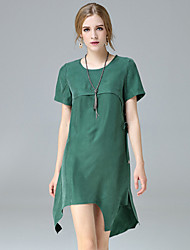 JOJO HANS Women's Going out Casual/Daily Simple Shift DressSolid Round Neck Above Knee Short Sleeve Red Green Polyester Spring Summer Mid Rise