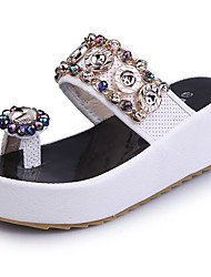cheap -Women's Shoes PU Summer Light Soles Slippers & Flip-Flops Walking Shoes Wedge Heel Peep Toe Rhinestone for Office & Career Dress Party &