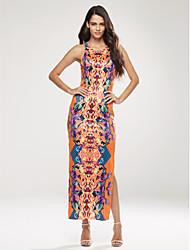 baratos -Mulheres Bainha Vestido,Casual Boho Estampado Decote Redondo Longo Sem Manga Laranja Poliéster Verão