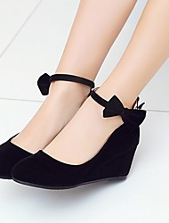 Women's Shoes Leatherette PU Spring Summer Fall Winter Comfort Novelty Heels Walking Shoes Wedge Heel Round Toe Bowknot For Wedding