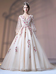 cheap -Ball Gown Princess V Neck Court Train Polyester Lace Over Tulle Formal Evening Dress with Appliques Embroidery Pearl Detailing Bandage by