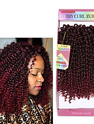 cheap -3pieces/Pack Synthetic Crochet Curly Braids Weaving 10inch Brazilian Ombre Kinky Curly Hair Weaves 2 Or 3 Pack One Pack