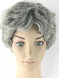 Femme Perruque Synthétique Ondulé Gris Coupe Carré Perruque Naturelle Perruque Déguisement