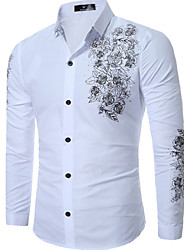 cheap -Men's Daily Plus Size Casual Spring Fall Shirt,Print Classic Collar Long Sleeves Cotton Medium