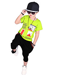 Boy's Going out Casual/Daily/Sports Print Cotton Summer Short Sleeve Middle Pants 2 Piece Clothing Set Children's Garments