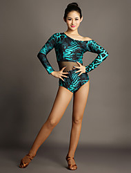 cheap -Latin Dance Leotards Women's Performance Tulle Velvet Splicing 1 Piece Long Sleeve Natural Leotard