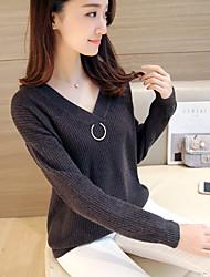 Normal Pullover Femme Décontracté / Quotidien Classique & Intemporel,Couleur unie Col en V Manches Longues Non Disponible Printemps