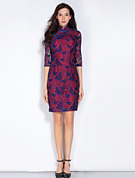 Mary Yan & Yu Formal Party/Cocktail Chinoiserie Bodycon DressSolid Stand Above Knee  Sleeve Polyester Purple Spring Summer Mid Rise Inelastic