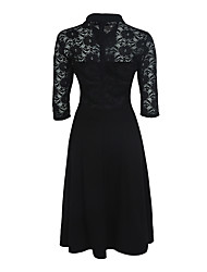 Women's Lace Plus Size Party Vintage Sheath Dress,Solid Lace Shirt Collar Knee-length ½ Length Sleeve Polyester Spandex Red Black SummerHigh