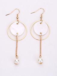 cheap -The European And American Fashion Circle Pearl Earrings Elegant Long Eardrop Geometry Shell Earrings