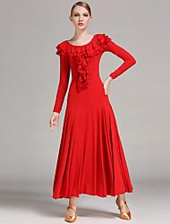 povoljno -Klasični plesovi Haljine Žene Seksi blagdanski kostimi Viskoza S volanima Dugih rukava Prirodno Haljina