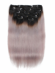 7 Pcs/Set 1b/Grey Ombre Color Black to Grey Clip In Hair Extensions 14Inch 18Inch 100% Human Hair