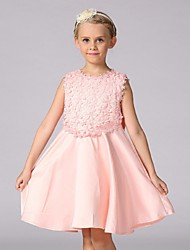 cheap -Ball Gown Knee Length Flower Girl Dress - Organza Sleeveless Jewel Neck with Bow(s) by YDN