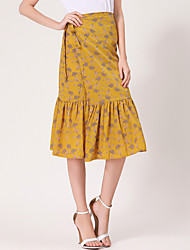 A Line Print Patchwork Skirts,Casual/Daily Simple Mid Rise Midi Drawstring Linen Micro-elastic Spring Summer