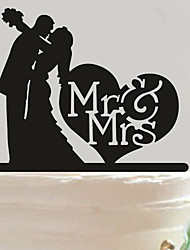 cheap -Acrylic Mr & Mrs Heart Cake Topper Non-personalized Acrylic Wedding / Anniversary / Bridal Shower  14.5*14cm