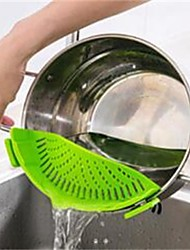 1Pcs  Silicone Multifunction Funnel Strainer Pot Pan Bowl Baking Wash Rice Colander Kitchen Accessories Gadgets Cooking Tools  Random Color