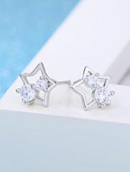 925 Sterling Silver Earrings Star AAA Cubic Zirconia Stud Earrings Jewelry