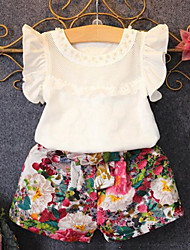 Girls' Daily Print Clothing Set,Cotton Polyester Summer Short Sleeve Floral Ruffle White