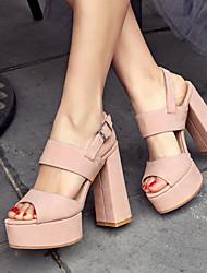 Da donna-Sandali-Formale Casual Serata e festaQuadrato Heel di blocco-PU (Poliuretano)-Nero Rosa Tessuto almond