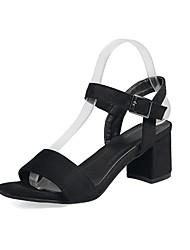 cheap -Women's Shoes Leatherette Spring / Summer Sandals Chunky Heel Open Toe for Dress Black / Green