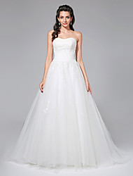 A-Line Strapless Court Train Tulle Wedding Dress with Beading Sequin Sash / Ribbon Ruche by LAN TING BRIDE®