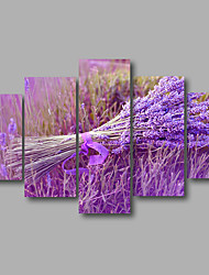 Stretched Canvas Print Four Panels Canvas Wall Decor Home Decoration Abstract Modern Purple Lavender Flowers