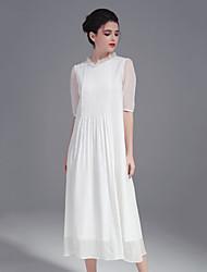 Trapèze Robe Femme Décontracté / Quotidien simple,Couleur Pleine Col Arrondi Midi ½ Manches Rouge Blanc Soie Printemps Eté Taille Normale
