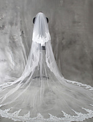 Wedding Veil Two-tier Blusher Veils Cathedral Veils Lace Applique Edge Tulle