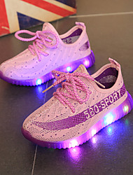 Girls' Athletic Shoes Light Up Shoes Tulle Spring Fall Casual Lace-up Orange Purple Ruby Blue Under 1in
