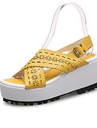 Damen-Sandalen-Lässig Sportlich-PU-Keilabsatz-Creepers Komfort-Orange Gelb Blau Rosa