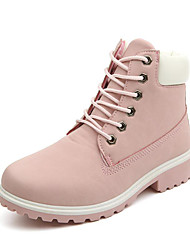 cheap -Women's Shoes PU(Polyurethane) Fall / Winter Novelty / Fashion Boots / Combat Boots Boots Walking Shoes Low Heel Round Toe Lace-up Green / Pink / Rainbow