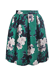 HOT High Quality Women's A Line Floral Print Pleated SkirtsCasual/Daily Simple Mid Rise Above Knee Elasticity Polyester Micro-elastic Spring Summer