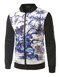 Men's Going out Casual/Daily Club Punk & Gothic Jacket,Print Stand Long Sleeve Spring Fall Machine wash Cotton Regular