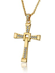 Pendentif de collier Zircon cubique Forme de Croix Zircon Plaqué argent Plaqué or Plaqué Or Rose AlliageBasique Original Pendant