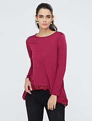 baratos -Mulheres Blusa - Para Noite Moda de Rua Renda, Sólido Algodão