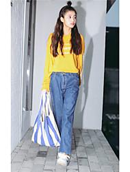 firmare nuovi vita coreano era dei jeans bordatura sottile appesi pantaloni cavallo crollo pantaloni femminili